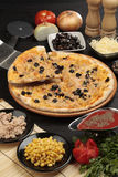 Pizza with tuna and sweetcorn. Studio shot of pizza with tuna and sweetcorn Stock Images