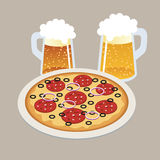 Pizza and two draft, beers in isometric 3d style Tasty pizza on the plate. Bar. Flat 3d vector isometric illustration. Concept picture Stock Photography