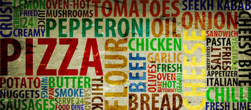 Pizza. Typography with style and images Royalty Free Stock Photography