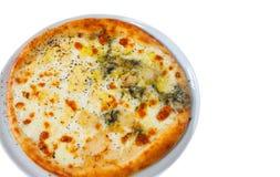 Pizza u. x22; vier cheese& x22; lokalisiert auf Weiß Lizenzfreies Stockbild