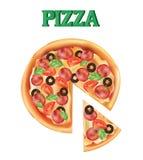 Pizza Un pezzo di pizza italiana Icona della pizza Fotografia Stock