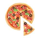 Pizza Un pezzo di pizza italiana Icona della pizza Fotografia Stock Libera da Diritti