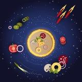 Pizza und Bestandteile auf einem dunkelblauen Hintergrund mit Sternen Lizenzfreies Stockfoto