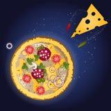 Pizza und Bestandteile auf einem dunkelblauen Hintergrund mit Sternen Stockbilder