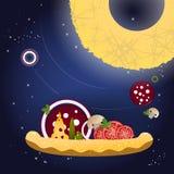 Pizza und Bestandteile auf einem dunkelblauen Hintergrund mit Sternen Lizenzfreie Stockfotos