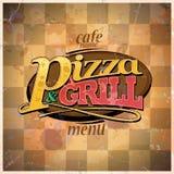 Pizza- und Grillmenü Stockfoto