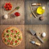 Pizza und Lebensmittelinhaltsstoffe am Holztisch lizenzfreies stockfoto