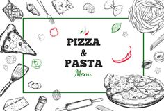 Pizza- und Teigwarenvektorrahmen Lizenzfreie Stockfotos