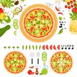 Pizza végétarienne avec du fromage et des légumes Photographie stock libre de droits
