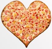 Pizza valentin dag Royaltyfri Fotografi