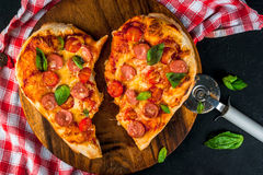 Pizza for Valentine`s Day Stock Photos