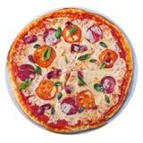 Pizza vanaf de bovenkant Royalty-vrije Stock Foto's