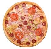 Pizza vanaf de bovenkant Stock Foto's