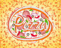 Pizza from a variety of ingredients, abstract lettering, stretched pixels, vector. Pizza from a variety of ingredients, abstract lettering, stretched pixels stock illustration
