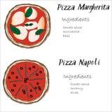 Pizza vastgestelde die hand met graghic ingrediëntenkrabbel wordt getrokken Stock Fotografie