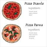 Pizza vastgestelde die hand met graghic ingrediëntenkrabbel wordt getrokken Stock Afbeelding