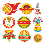 Pizza - vector badges set. Pizza - vector labels collection. Royalty Free Stock Photos