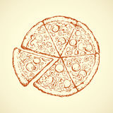 Pizza. Vector drawing Stock Photos