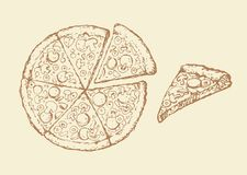 Pizza. Vector drawing Royalty Free Stock Photos