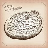 Pizza vector hand drawn Stock Photography