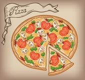 Pizza vector hand drawn Stock Image