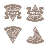 Pizza vector icons set. Four icons on the pizza theme for your design Royalty Free Stock Image