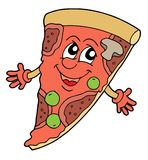 Pizza vector illustration. Pizza with smiling face - vector illustration Stock Photos