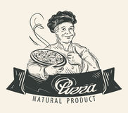 Pizza vector logo design template. Restaurant Stock Photos