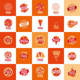 Pizza vector logo. Pizza template design logo. Vector illustration of icon Royalty Free Stock Images