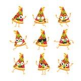 Pizza - vector set of mascot illustrations. Royalty Free Stock Photo