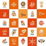 Pizza vectorembleem Royalty-vrije Stock Afbeeldingen