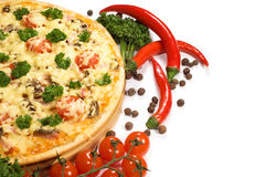Pizza with vegetables stock images