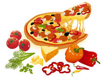 Pizza and vegetables Royalty Free Stock Photos