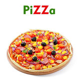 Pizza with vegetables, chicken, ham and olives Royalty Free Stock Photography