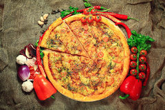 Pizza with vegetables Royalty Free Stock Images