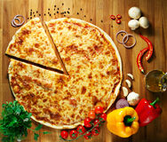 Pizza with vegetables herbs and olive oil Royalty Free Stock Image