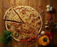 Pizza with vegetables herbs and olive oil Royalty Free Stock Photography