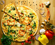 Pizza with vegetables herbs and olive oil Stock Photo