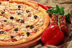 Pizza with vegetables and herbs rustic Stock Images