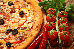 Pizza with vegetables and herbs Royalty Free Stock Images