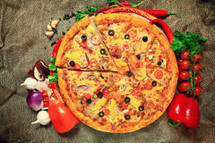 Pizza with vegetables and herbs rustic Royalty Free Stock Image