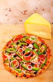 Pizza with vegetables and pepperoni Stock Photography