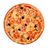 Pizza Vegetarian with tomatoes, corn, onion, green and black olives isolated on white, top view.  royalty free stock photo