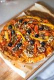 Pizza vegetariana Fotografía de archivo libre de regalías