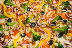 Pizza vegetariana con i broccoli e le spezie su un fondo di legno leggero fotografie stock
