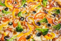 Pizza vegetariana con i broccoli e le spezie su un fondo di legno leggero fotografie stock libere da diritti