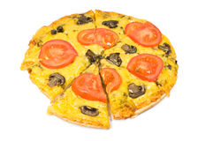 Pizza vegetariana con las setas Fotos de archivo