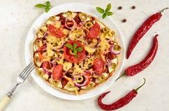 Pizza vegetariana con los tomates, el paprika, la cebolla, las aceitunas verdes, el queso y las especias en el cierre blanco del  Fotos de archivo