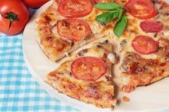 Pizza vegetariana con queso, tomates y setas Imagen de archivo libre de regalías