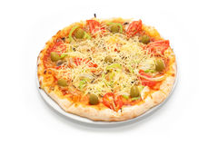Pizza Vegetariana on the plate Stock Image